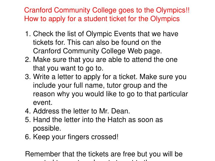 Cranford Community College goes to the Olympics!!