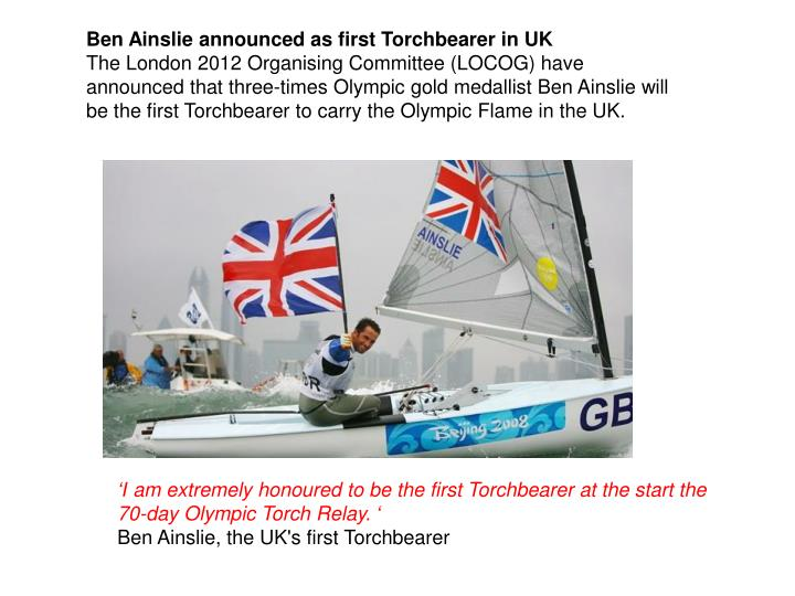 Ben Ainslie announced as first Torchbearer in UK