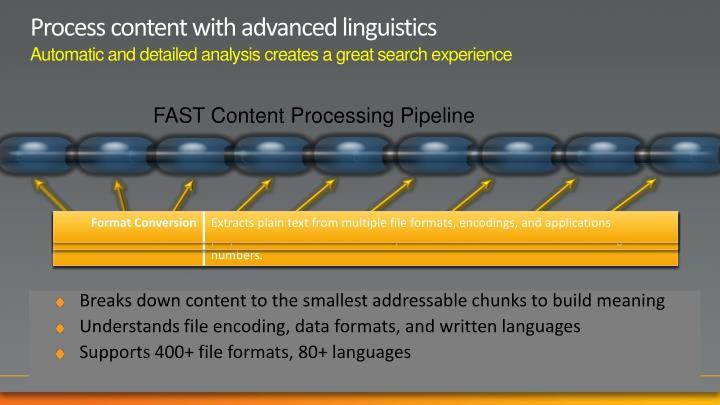 Process content with advanced linguistics