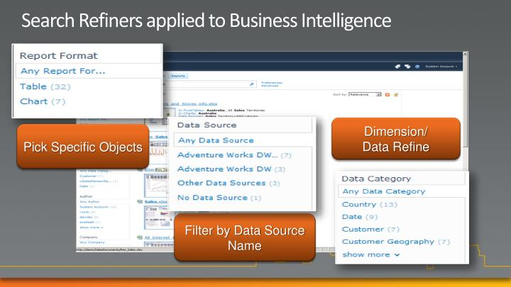 Search Refiners applied to Business Intelligence