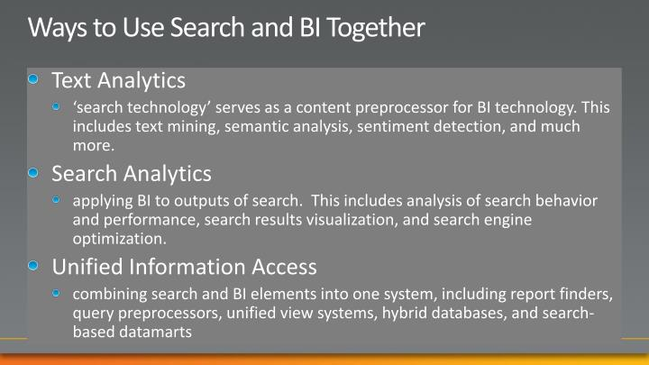 Ways to Use Search and BI Together