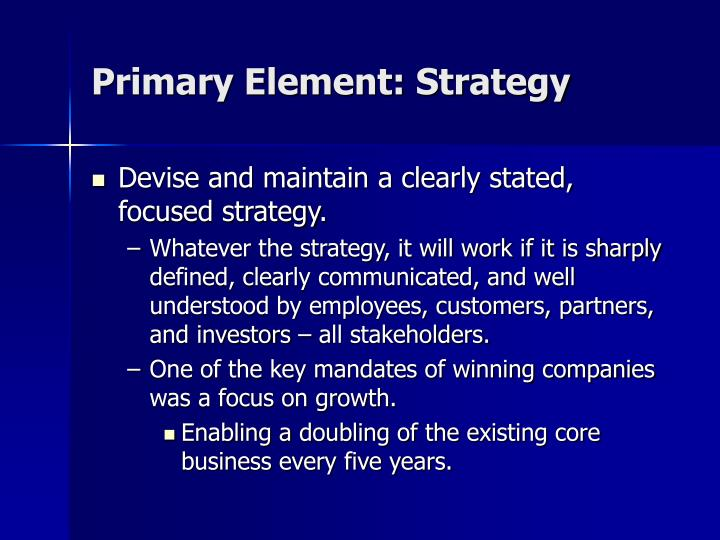Primary Element: Strategy