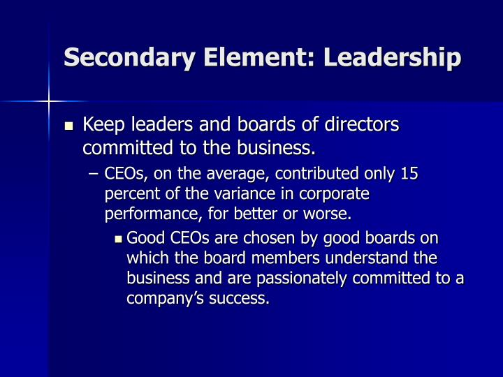 Secondary Element: Leadership