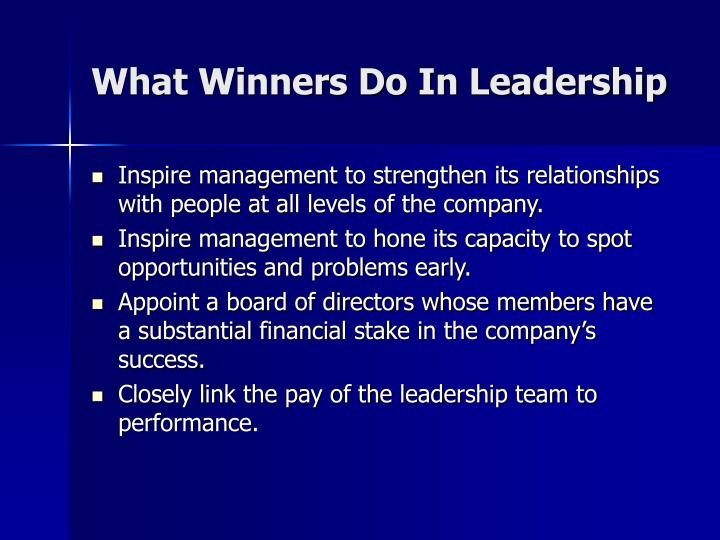 What Winners Do In Leadership