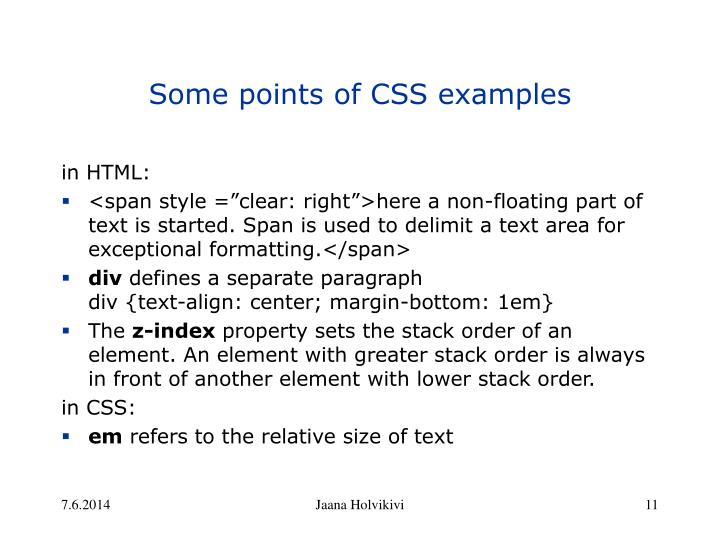 Some points of CSS examples