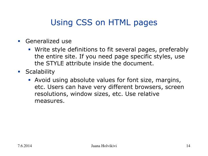 Using CSS on HTML pages