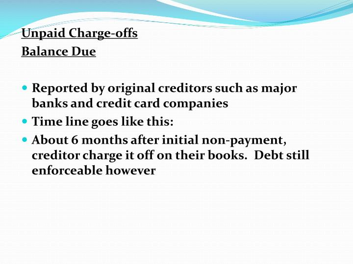 Unpaid Charge-offs
