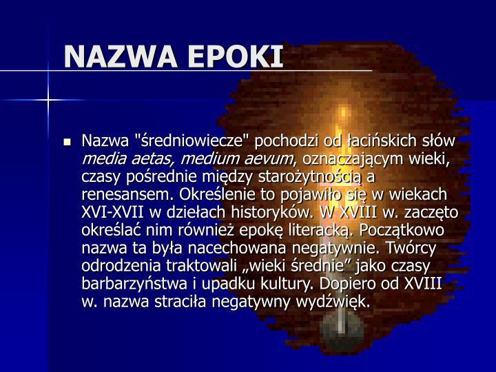 NAZWA EPOKI