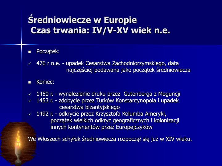 Średniowiecze w Europie