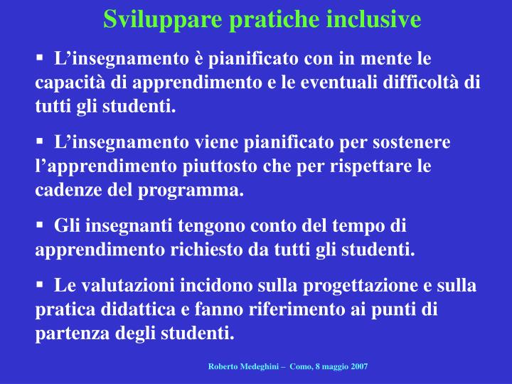 Sviluppare pratiche inclusive