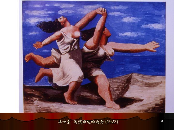 畢卡索  海濱奔跑的兩女