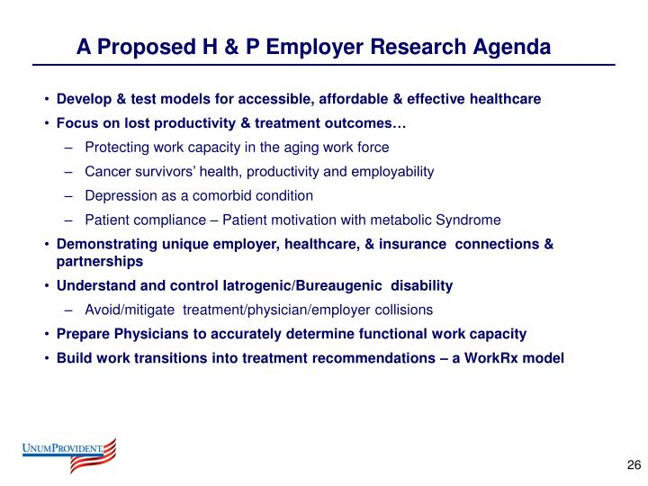 A Proposed H & P Employer Research Agenda