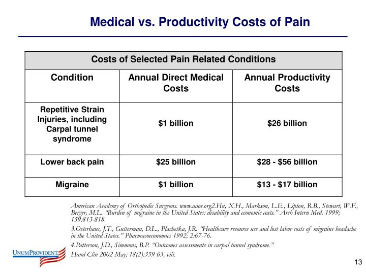 Medical vs. Productivity Costs of Pain