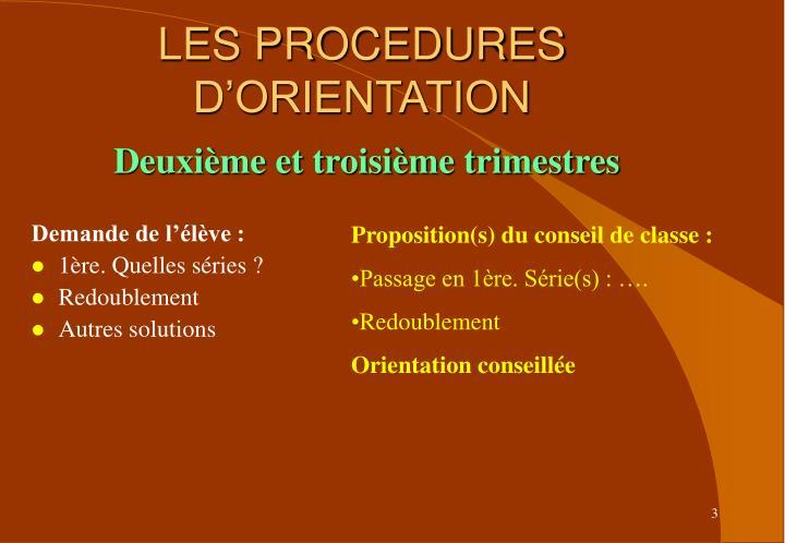 LES PROCEDURES D'ORIENTATION