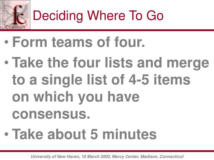 Deciding Where To Go