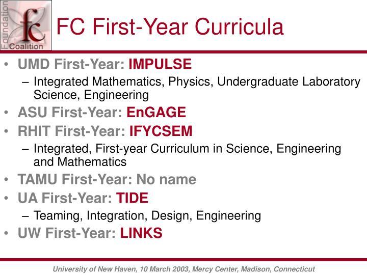 FC First-Year Curricula