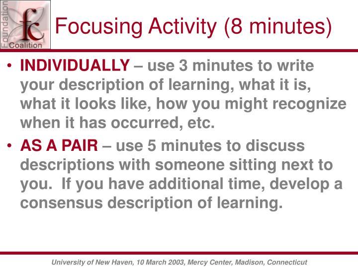 Focusing Activity (8 minutes)