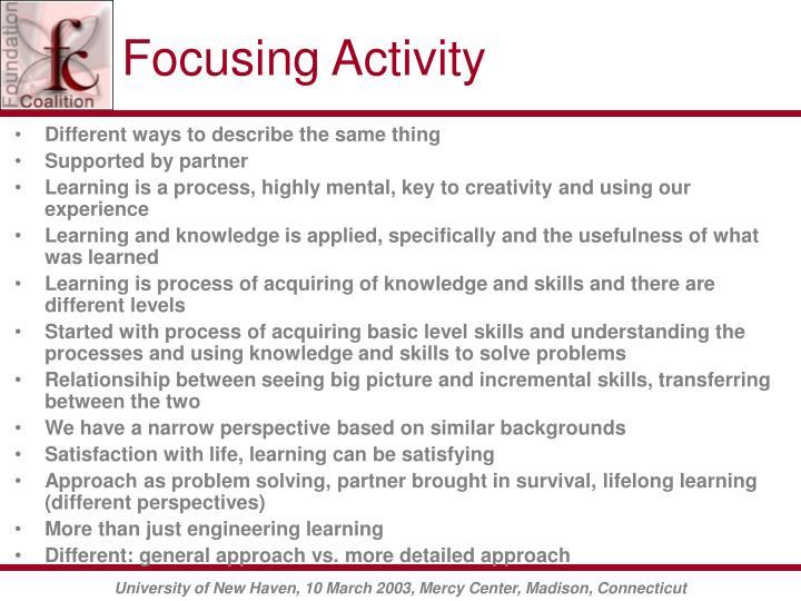 Focusing Activity