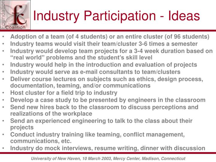 Industry Participation - Ideas