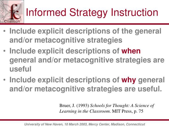 Informed Strategy Instruction