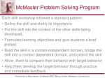 mcmaster problem solving program