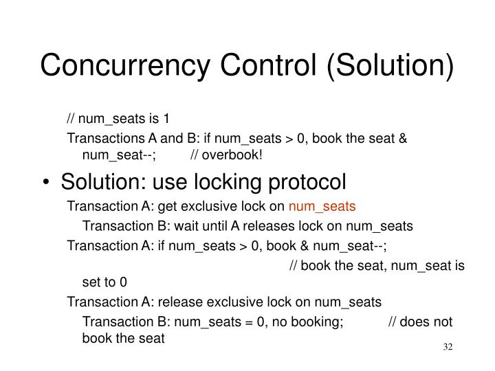 Concurrency Control (Solution)