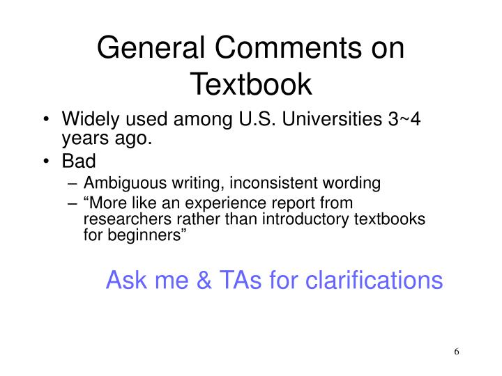 General Comments on Textbook