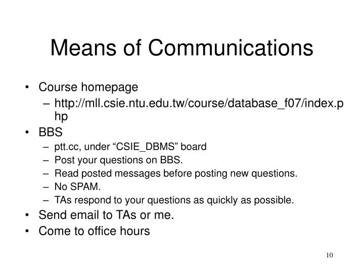 Means of Communications
