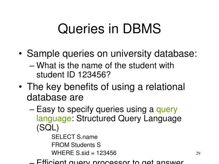 Queries in DBMS