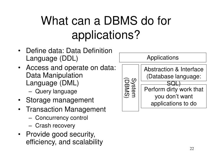 What can a DBMS do for applications?