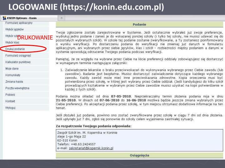 LOGOWANIE (https://konin.edu.com.pl)
