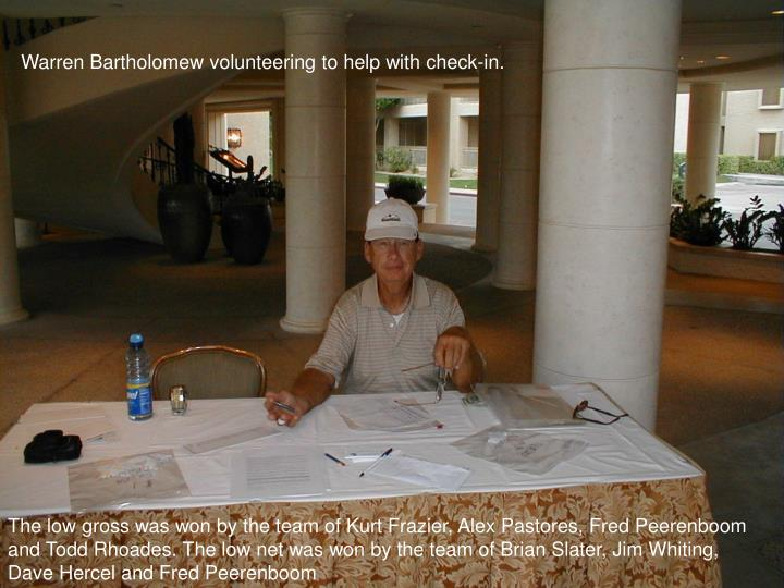 Warren Bartholomew volunteering to help with check-in.