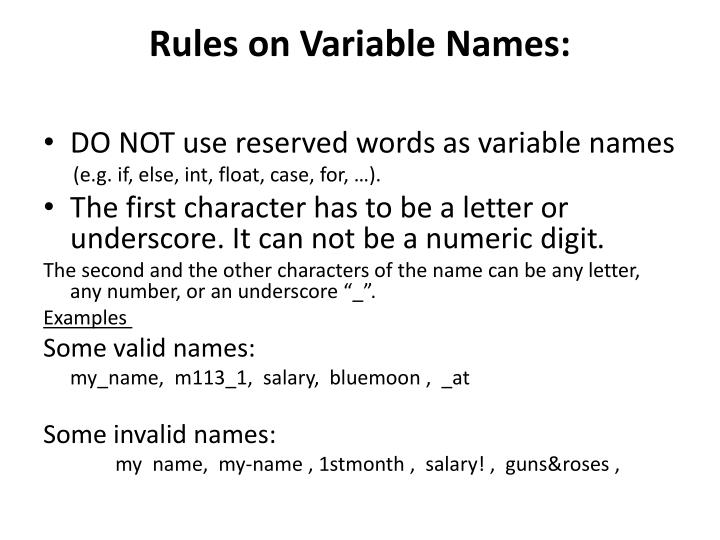 Rules on Variable Names: