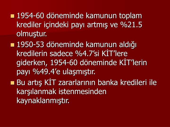 1954-60 dneminde kamunun toplam krediler iindeki pay artm ve %21.5 olmutur.