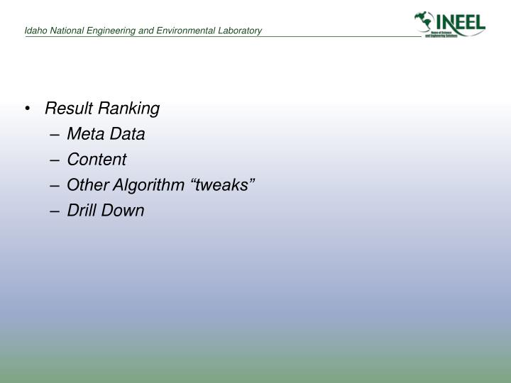 Result Ranking