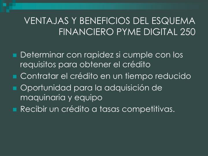 VENTAJAS Y BENEFICIOS DEL ESQUEMA FINANCIERO PYME DIGITAL 250