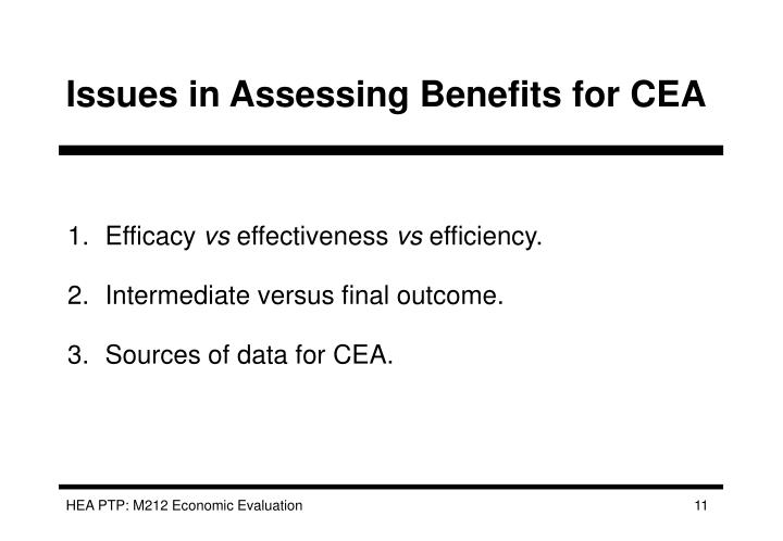 Issues in Assessing Benefits for CEA