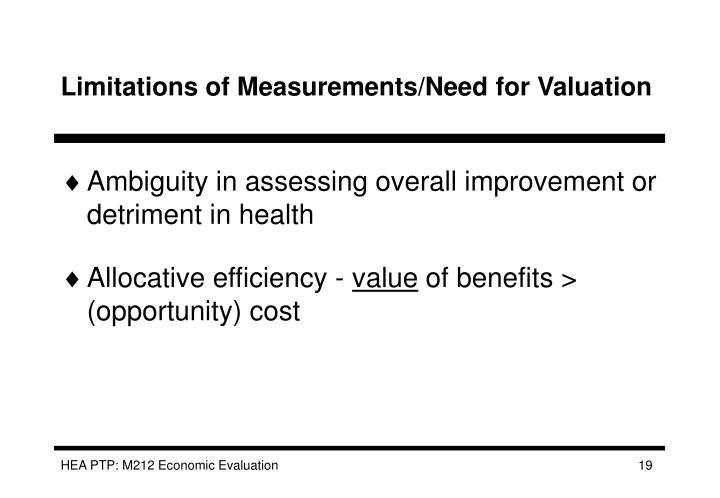 Limitations of Measurements/Need for Valuation