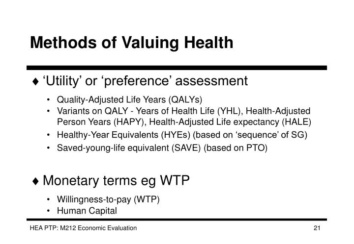 Methods of Valuing Health