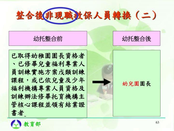 整合後非現職教保人員轉換(二)