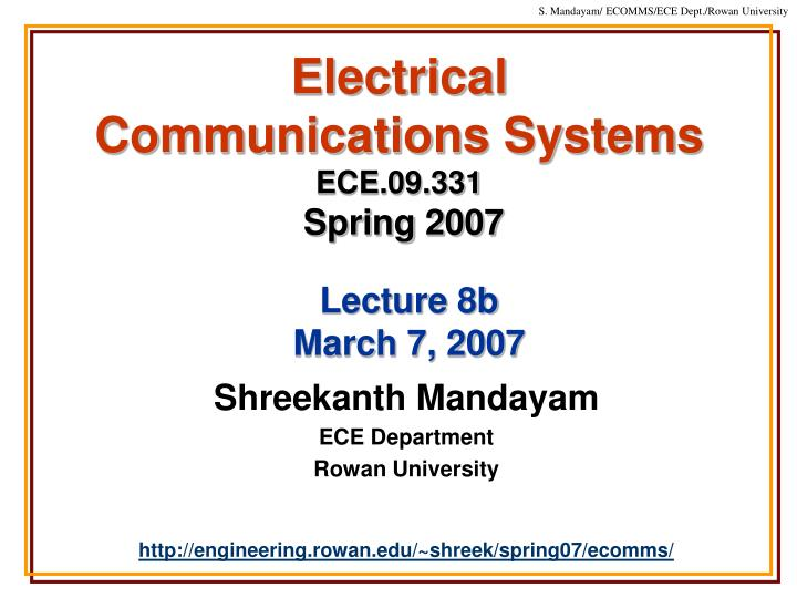 Electrical communications systems ece 09 331 spring 2007