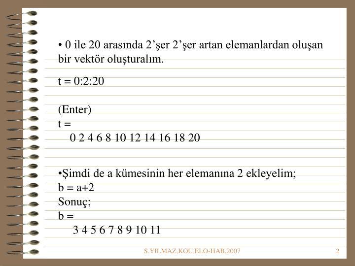 0 ile 20 arasında 2'şer 2'şer artan elemanlardan oluşan bir vektör oluşturalım.