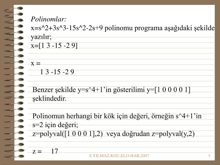 Polinomlar: