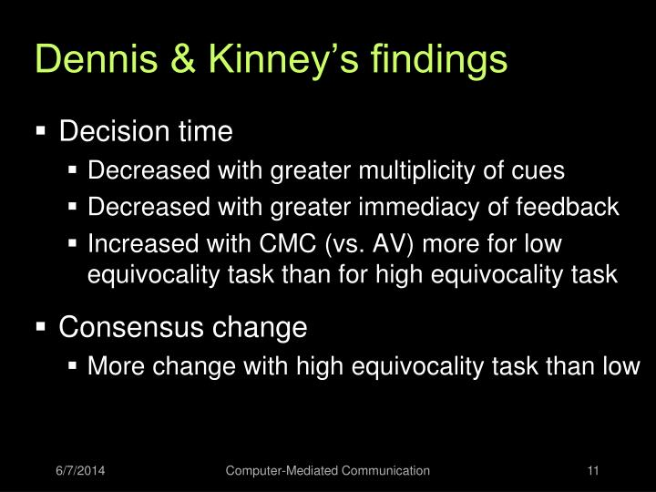 Dennis & Kinney's findings