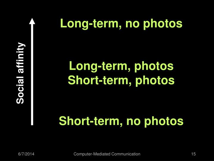 Long-term, no photos