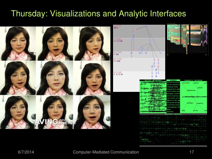Thursday: Visualizations and Analytic Interfaces