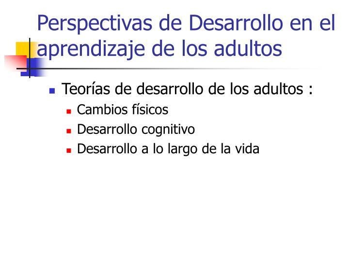 Perspectivas de Desarrollo en el aprendizaje de los adultos