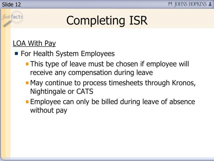 Completing ISR