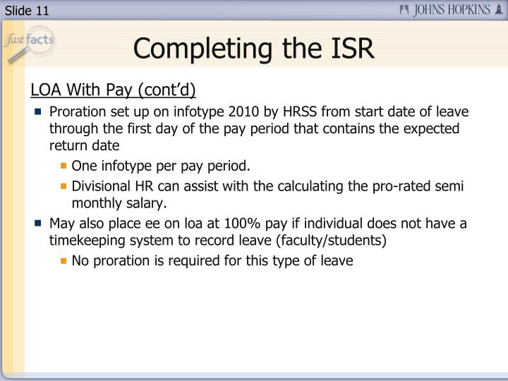 Completing the ISR