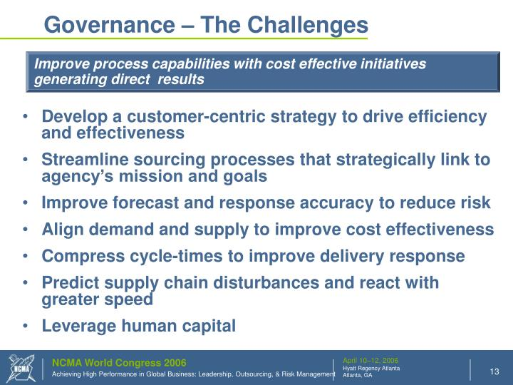 Governance – The Challenges